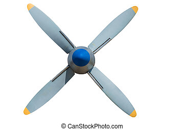 Propeller plane on a white background - Real screw gray-blue...
