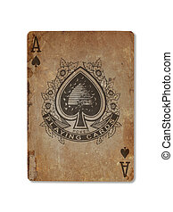 Very old playing card, ace of spades - Very old playing card...