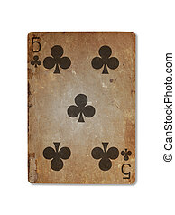 Very old playing card, five of clubs - Very old playing card...