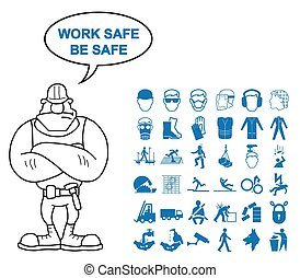 Health and Safety Graphics - Blue construction manufacturing...