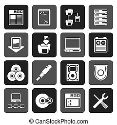 Flat Server Side Computer icons - Vector Icon Set