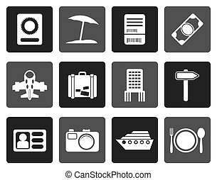 travel, trip and holiday icons - Flat travel, trip and...