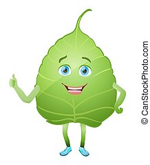 green leaf cartoon character.cartoon leaf with eyes, mouth, hands and legs, finger up showing like. vector illustration.