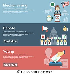 Election horizontal banners set with flat voting elements...