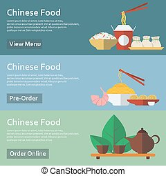 Chinese food Web banners in flat style Vector illustration...