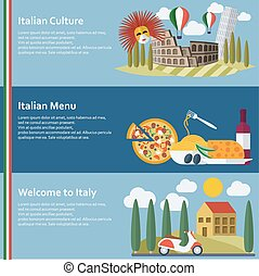 Set of  flat Italy web banners. Vector illustration.