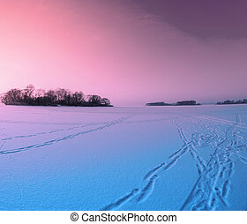 On The Frozen Lake - Beautiful winter landscape on the...