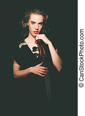 Gorgeous Lady Musician Holding on her Cello