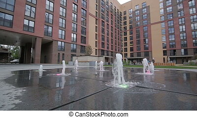 The fountains in the courtyard homes
