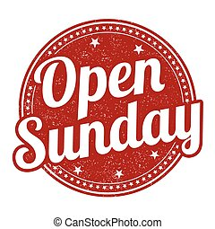 Open sunday stamp - Open sunday grunge rubber stamp on white...