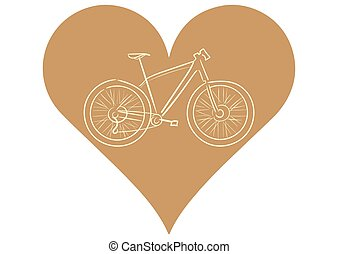 Bicycle in heart - Illustration with a brown contour of the...