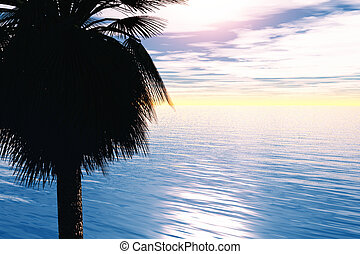 Tropical Oasis - Palm tree and sea with sunlight in the...