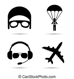 Skydiver on parachute, pilot, airplane silhouette icons...