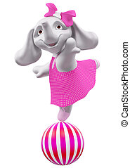 Baby elephant jumping on the ball 3d rendering - character...