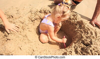 Camera Removes from Grandpa Kids Play among Sand Heap on...