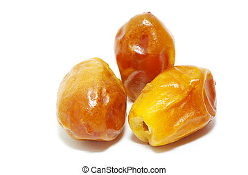 dates  - fresh dried dates isolated on a white