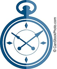 Flat pocket watch icon. Vector pocket watch illustration.