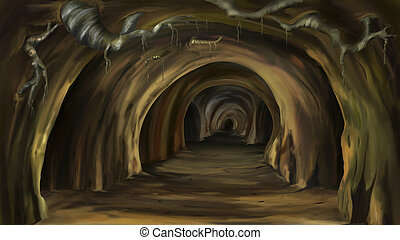 Mysterious cave - Digital painting of the Mysterious cave
