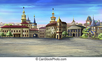Old Town Square - Digital painting of the Old Town Square