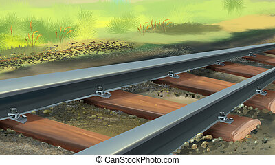 Railroad track. Image 1 - Digital painting of the railroad...