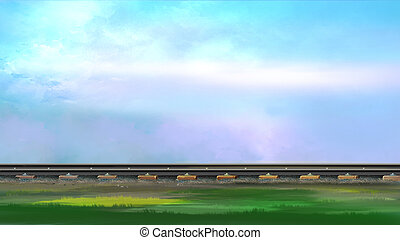 Railroad track. Image 2 - Digital painting of the railroad...