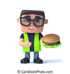 3d Health and safety worker eats a beef burger - 3d render...