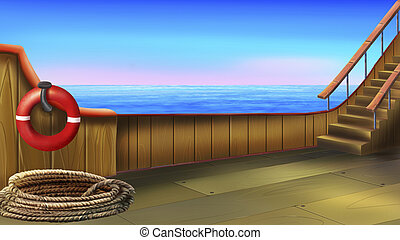 The deck of a small ship - Digital painting of the deck of a...