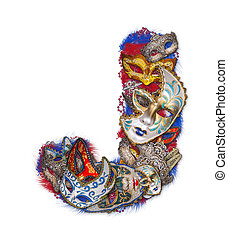Letter J made of carnival mask and feather