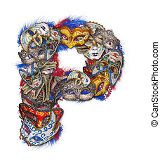 Letter P made of carnival mask and feather