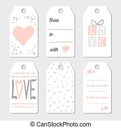 Gift tags with hearts and love. Vector illustration. Pink...