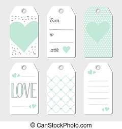 Gift tags with hearts and love. Vector illustration. Mint...
