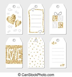 Gift tags with hearts and love. Vector illustration. Golden...