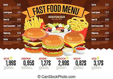 Fast food menu template. - Fast food restaurant menu...
