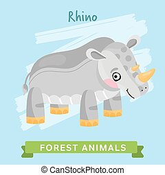 Rhino Vector, forest animals. - Rhino vector. Wild and...