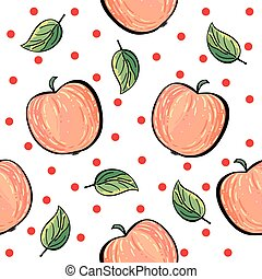 Red apple pattern with red dots