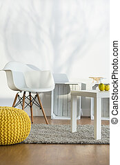 Simple decor in light interior - White furniture in light...