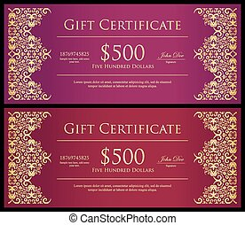 Vintage red and purple gift certificate with golden lace decoration