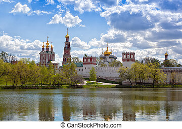 Russian orthodox churches in Novodevichy Convent monastery,...