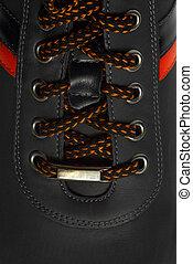 lacing - Lace-up leather shoes closeup Sport leather shoes