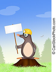 mole with sign - illustration of mole with sign