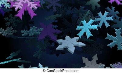 Snowflakes in various colors on black