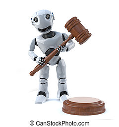 3d Robot holds an auction - 3d render of a robot holding an...