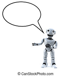 3d Robot with empty speech bubble - 3d render of a robot...