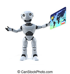 3d Robot pays with a debit card - 3d render of a robot...