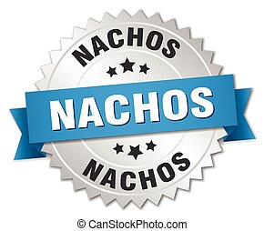 nachos 3d silver badge with blue ribbon