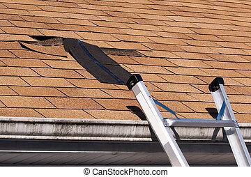 Danificado, telhado, telhas, reparar