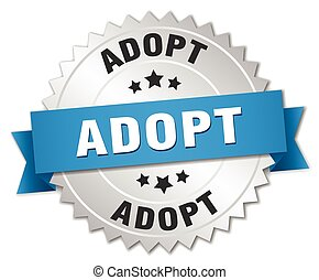 adopt 3d silver badge with blue ribbon