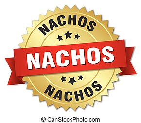 nachos 3d gold badge with red ribbon