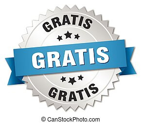 gratis 3d silver badge with blue ribbon