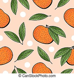 Seamless hand drawn tangerine pattern on orange background....